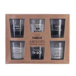 Grossiste bougie en verre x6 famille coffret