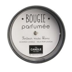Grossiste bougie en verre senteur musc blanc / vanille noire