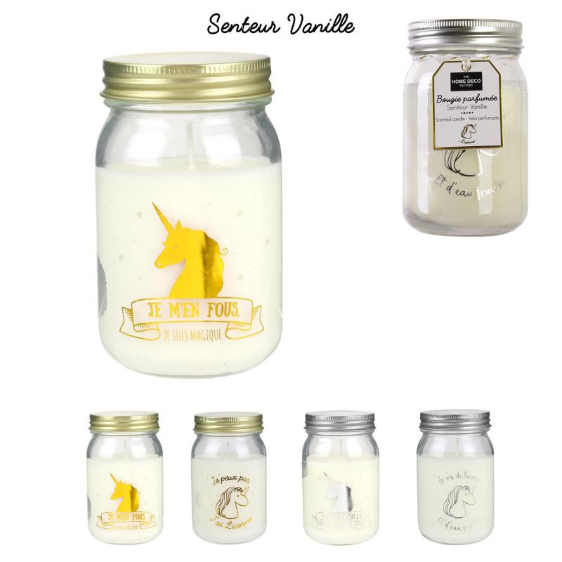 Grossiste bougie Mason jar spécial licorne