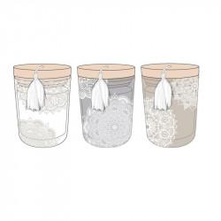Grossiste bougie parfumée à la fleur de coton en verre avec pompon