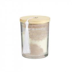 Grossiste bougie parfumée à la fleur de coton en verre beige avec pompon