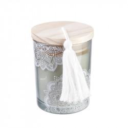 Grossiste bougie parfumée à la fleur de coton en verre blanche avec pompon
