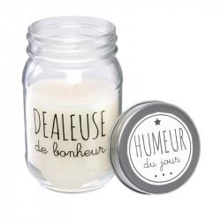 Grossiste bougie Mason jar Humeur du jour blanche