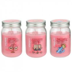 Grossiste bougie Mason jar spécial astrologie rose clair