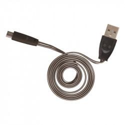 Grossiste et fournisseur. Câble plat lumineux micro USB noir
