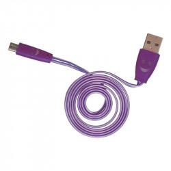 Grossiste et fournisseur. Câble plat lumineux micro USB violet