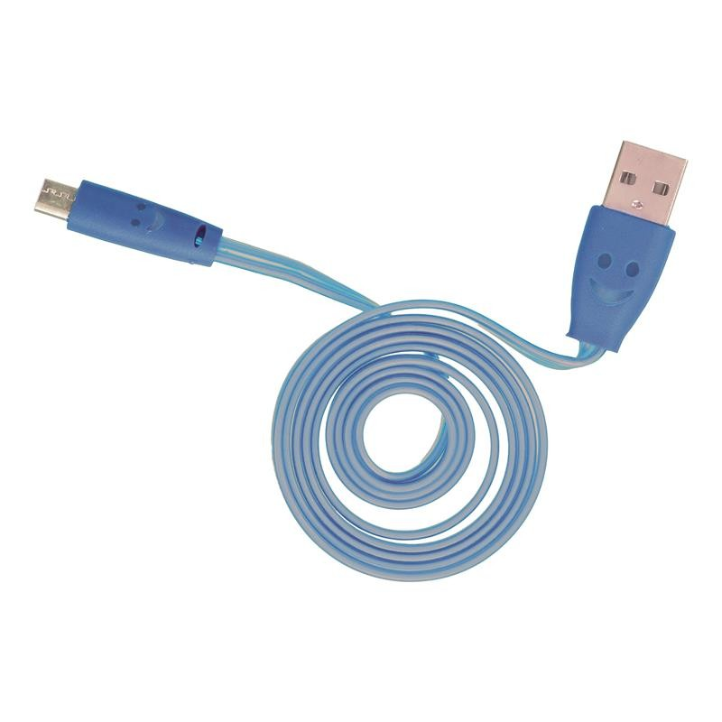 Grossiste et fournisseur. Câble plat lumineux micro USB bleu