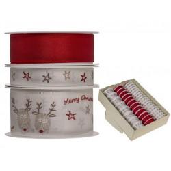 Grossiste présentoir de 39 rouleaux de ruban blanc et rouge à motif renne et étoile