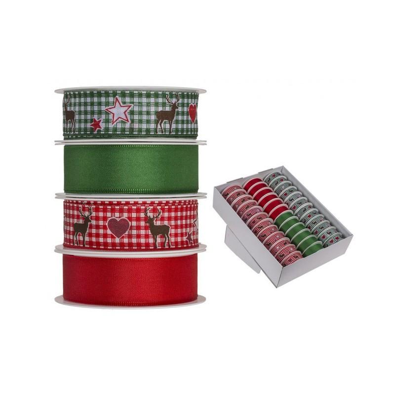 Grossiste présentoir de 36 rouleaux de ruban blanc et rouge à motif renne et étoile