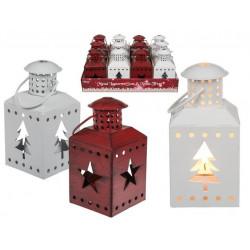 Grossiste lanterne en métal motif étoile et sapin