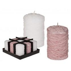 Grossiste bougies ronde rose et blanc de 10 cm