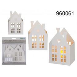 Grossiste maison blanche en papier avec bougie chauffe plat à led