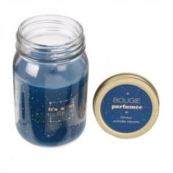 Grossiste bougie parfumée Mason jar bleue senteur orchidée blanche