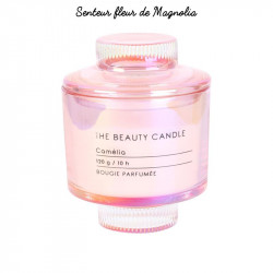 Grossiste bougie écrin The Beauty Candle en verre rose