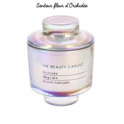 Grossiste bougie écrin The Beauty Candle en verre mauve