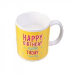 Grossiste bougie mug spécial anniversaire jaune