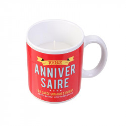Grossiste bougie mug spécial anniversaire rouge