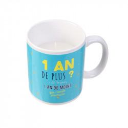 Grossiste bougie mug spécial anniversaire bleue