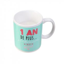Grossiste bougie mug spécial anniversaire verte