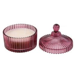 Grossiste bougie bohème en écrin en verre prune
