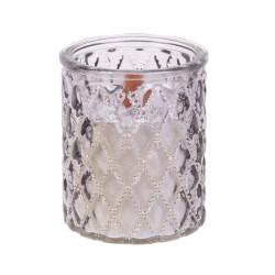 Grossiste bougie en verre ciselé à mèche en bois taupe