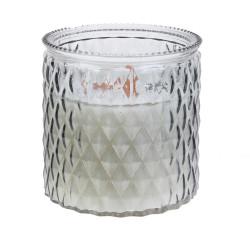 Grossiste bougie en verre ciselé à mèche en bois blanche