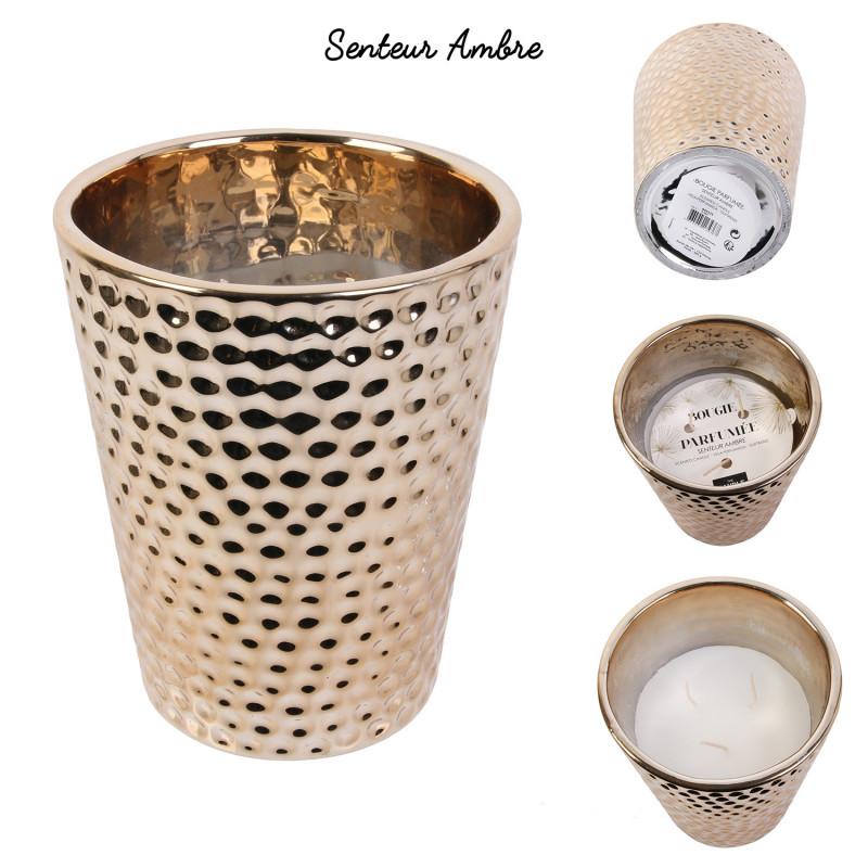 Grossiste bougie vase en céramique martelé en cuivre 16x13cm x4