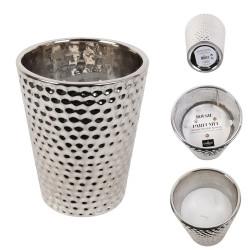Grossiste bougie vase en céramique martelé en argent 16x13cm x4