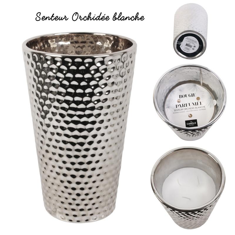 Grossiste bougie vase en céramique martelé en argent 24x15cm x2