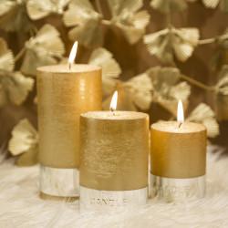 Grossiste bougies cylindre à paillettes dorées