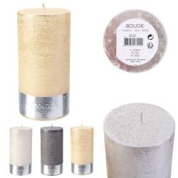 Grossiste bougie cylindre à paillettes 14x7cm x12