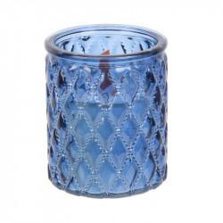 Grossiste bougie en verre ciselé à mèche en bois bleue