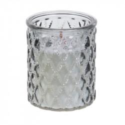 Grossiste bougie en verre ciselé à mèche en bois grise