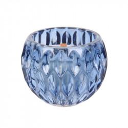 Grossiste bougie ronde ciselé à mèche en bois bleue