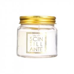 Grossiste bougie mini bocal scintillante  blanche