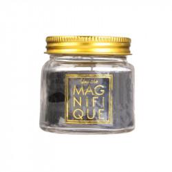 Grossiste bougie mini bocal scintillante noire