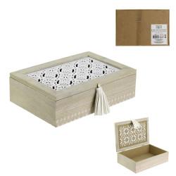 Grossiste boite de rangement en bois avec pompon 24x16x7cm