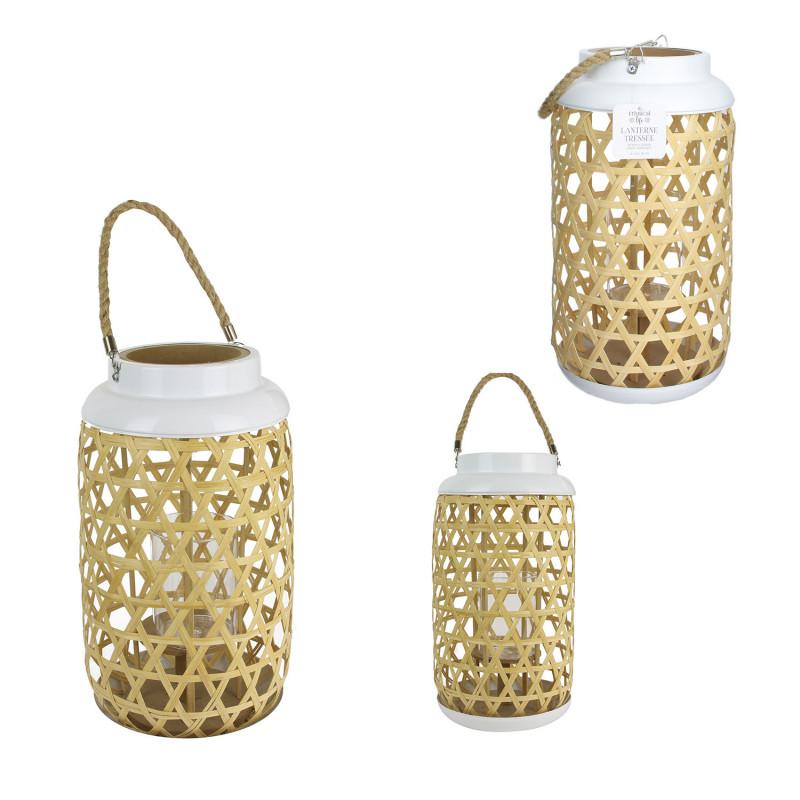 Grossiste lanterne tressée en bois 21x21x38.5cm