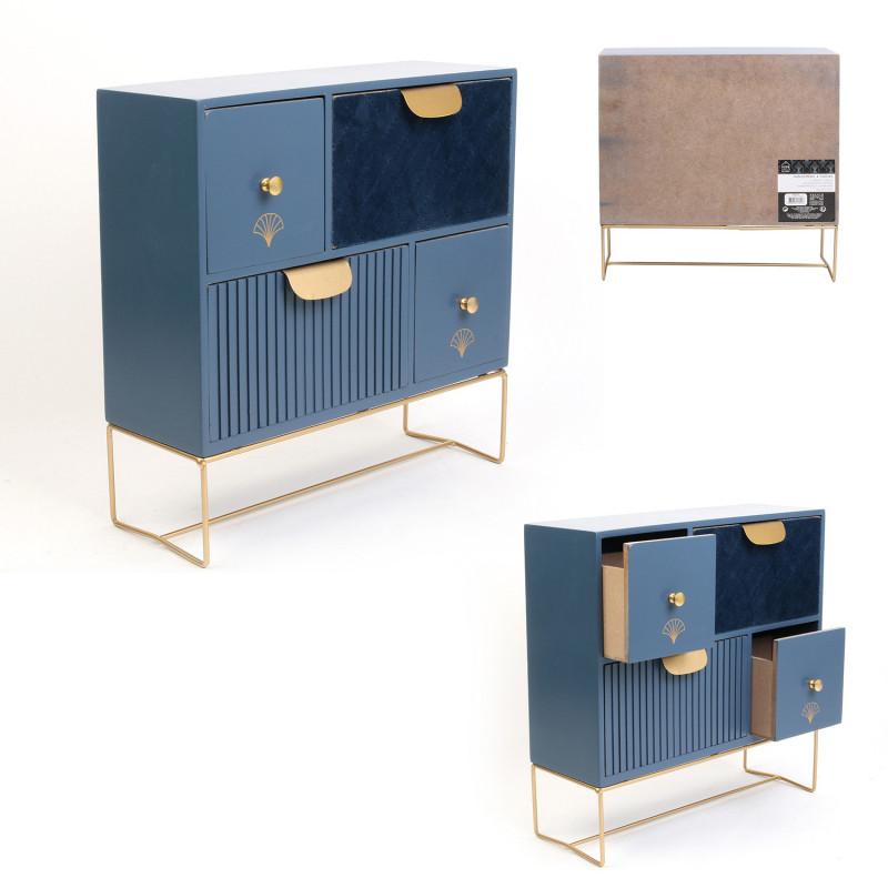Grossiste rangement 4 tiroirs velours bleu