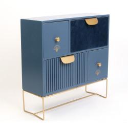 Grossiste rangement de 4 tiroirs en velours bleu