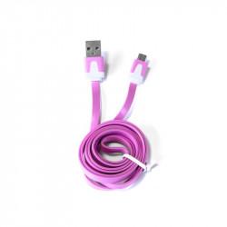 Grossiste et fournisseur. Câble plat micro USB pour charger et synchroniser rose