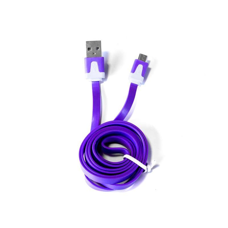 Grossiste et fournisseur. Câble plat micro USB pour charger et synchroniser violet