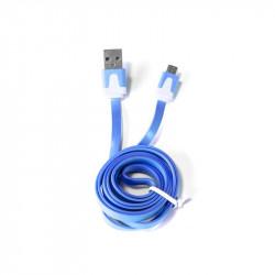 Grossiste et fournisseur. Câble plat micro USB pour charger et synchroniser bleu