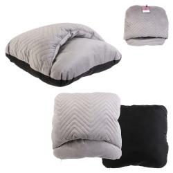 Grossiste chausson double gris velours a motif