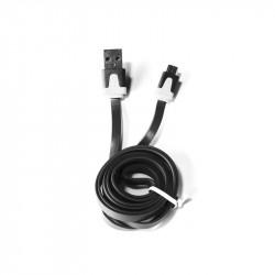 Grossiste et fournisseur. Câble plat micro USB pour charger et synchroniser noir