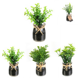 Grossiste plante artificielle pot verre rafia 12cm