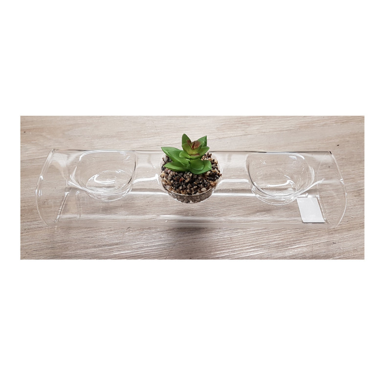 Grossiste photophore en verre avec plante artificielle