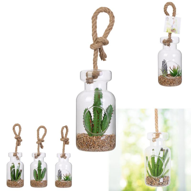 Grossiste plante artificielle suspension en verre 20cm