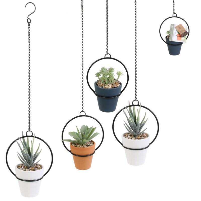 Grossiste plante artificielle dans une suspension en métal 12cm