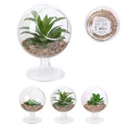 Grossiste plante artificielle verre à pied 13.5cm